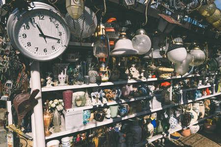 Flea market goods on display Editorial