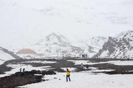 Hikers at Cotopaxi, Ecuador, the second highest summit in Ecuador
