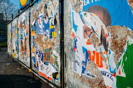 Ripped up billboards ahead of 2018 Italian general election is due to be held on March 4th, 2018