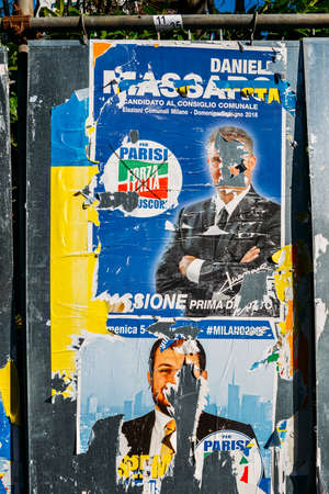 Ripped up defaced billboards ahead of 2018 Italian general election is due to be held on March 4th, 2018