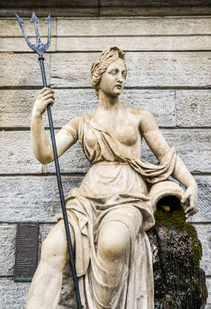Statue of Queen Amphitrite. the Queen of Atlantis and wife of King Neptune,the King of Atlantis - captured in Piazza Emile Chanoux, Aosta, Italy