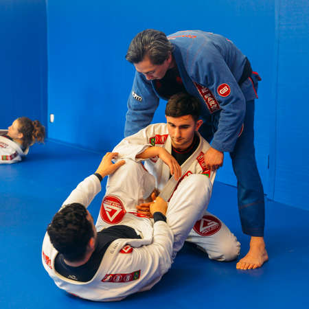 Brazilian Jiu Jitsu mixed martial arts grappling training at Fulham Gracie Barra academy in London, UK Editorial