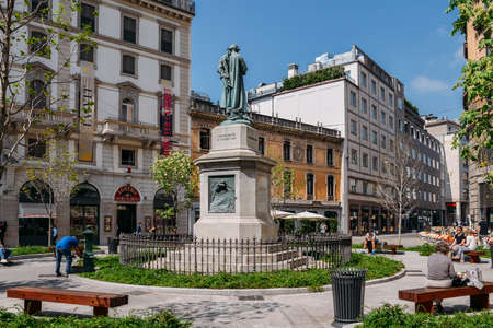 Monument to Cesare Beccaria. He was Italian jurist, philosopher and politician who condemned torture and the death penalty
