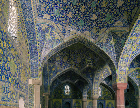 Interior view of lofty dome of the Shah Mosque in Sfahan, Iran covered with mosaic polychrome tiles, intended to give the spectator a sense of heavenly transcendence