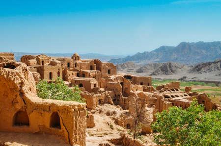 Ruins of the abandoned mud brick city Kharanaq near the ancient city Yazd in Iran.