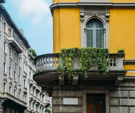 Traditional architecture in turn of the 20th century Art Nouveau style at Milan's Porta Venezia district, Lombardy, Italy.