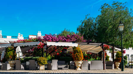 The Old Village in Algarve, Portugal is a collection of 280 properties built in 18th century Portuguese and English architecture nestled in the centre of the Pinhal Golf Course in Vilamoura, Algarve Banco de Imagens - 111214804