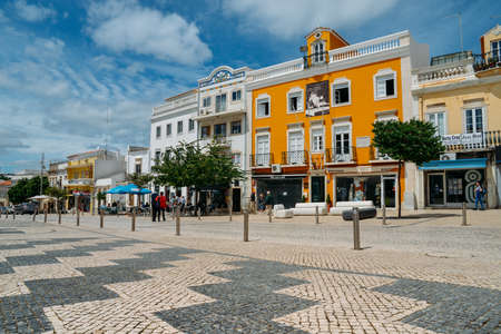 Outdoor view of the typical architecture of the city of Loule, Portugal. Editorial