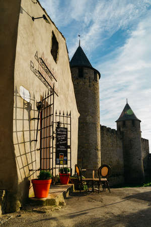 Carcassonne, a hilltop town in southern France, is an UNESCO World Heritage Site famous for its medieval citadel constructed in the 13th and 14th centuries 新聞圖片