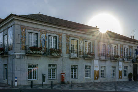 Town Hall decorated with azulejos, known as portuguese tiles and religious symbols Banco de Imagens - 111214933