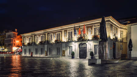 Town Hall decorated with azulejos, known as portuguese tiles and religious symbols Banco de Imagens - 111214938