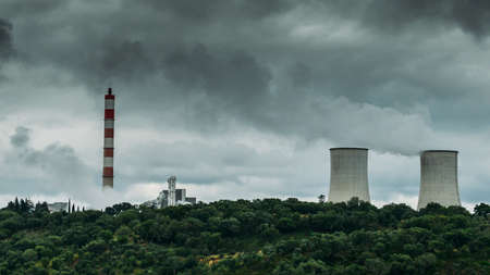 Panorama of cooling towers of nuclear power plants in Portugal - power generation concept.