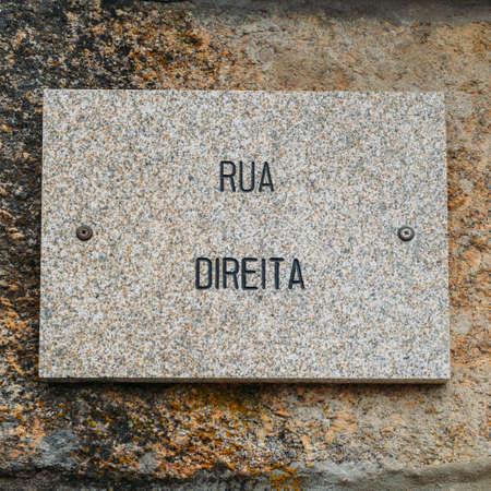 Rua Direita in the heart of Belmonte, Portugals medieval jewish quarter Editorial