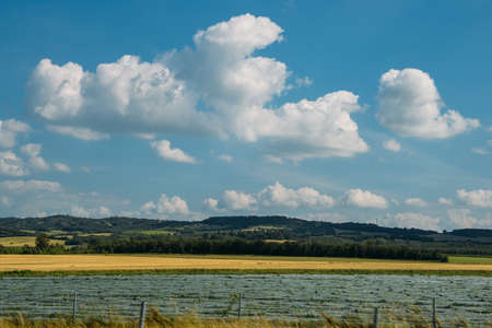 Wide angle Plowed Fields near in Southwest France on the foothill of the Pyranees - bliss wallpaper theme Stock Photo