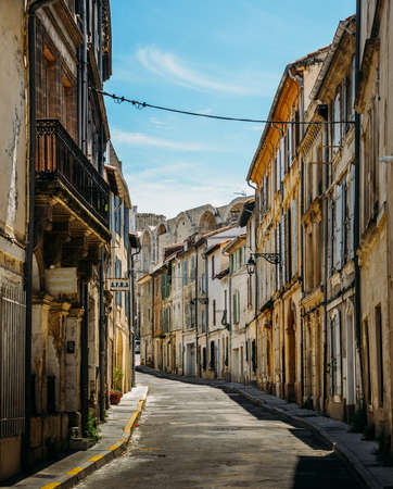 Small narrow streets in the quaint Provencal city of Arles, on the River Rhone. Stock Photo
