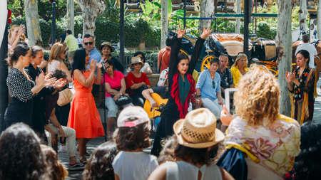 Woman performing flamenco dance in Sevilla, Spain Editorial