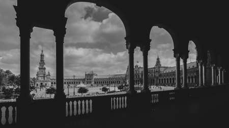 Panoramic monochrome Plaza de Espana in Sevilla, Spain, built in 1928 for the Ibero-American Exposition of 1929 Фото со стока
