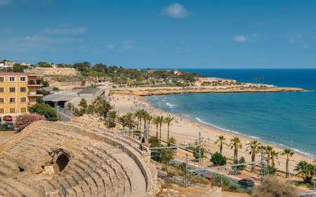 Tarragona, Spain - July 11, 2018: Panoramic view of the ancient roman amphitheater of Tarragona, Spain, next to the Mediterranean sea - UNESCO World Heritage Site Ref 875