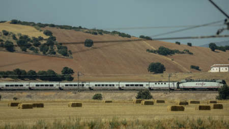 Modern Renfe train passing through green country landscape