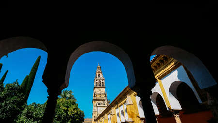 Frame of La Mezquita Cathedral Belltower in Cordoba, Spain - UNESCO World Heritage Site