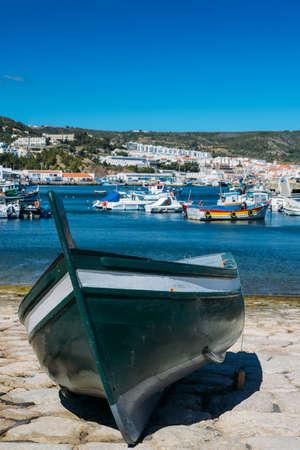 Traditional fishing boats at marina in Sesimbra, Portugal Archivio Fotografico