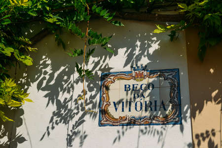 Traditional street sign in the historic centre of Cascais. Beco da Vitoria means Victory Alley