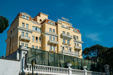 Facade of Belle Epoque style Hotel Inglaterra in Estoril, famous for hosting WWII-era spies Editorial