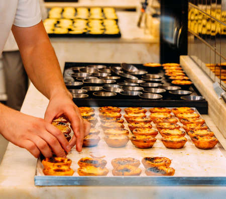 Worker organising rows of freshly cooked egg tart, traditional portuguese dessert, pastel de nata, custard tarts