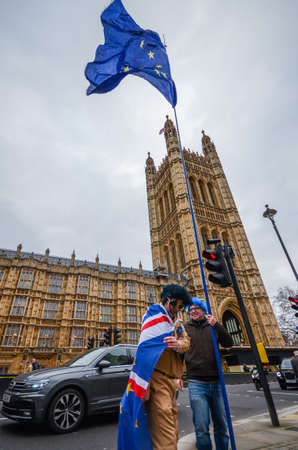Anti-Brexit protesters outside Westminster in London, UK