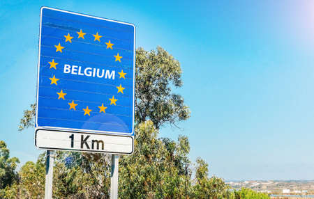 Road sign on the border of Belgium as part of the European Union