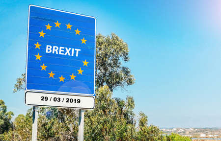 Following 2016 Referendum, UK is set to leave European Union on March 29, 2019 as part of Brexit, meaning Britain Exit - conceptual digital composite Stock Photo