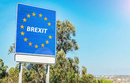 Following 2016 Referendum, UK is set to leave European Union on March 29, 2019 as part of Brexit, meaning Britain Exit - conceptual digital composite 免版税图像