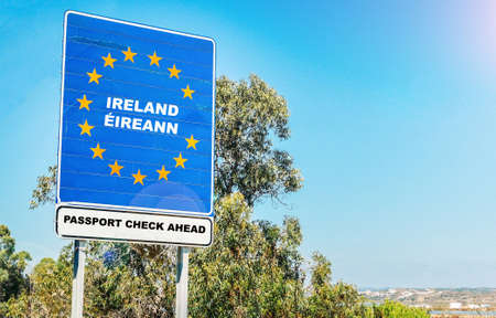 Hard border from Northern Ireland to Ireland concept post-Brexit with passport checks