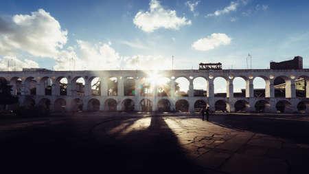 Carioca Aqueduct, also known as Arcos da Lapa in historic centre of Rio de Janeiro, Brazil