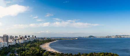 High-resolution panorama of Aterro do Flamengo, Santos Dumont Airport, Ponte Rio-Niteroi, Financial District and Guanabara Bay, Rio de Janeiro, Brazil Stock Photo