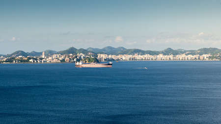 Container ship in import export and business logistic, captured at Guanabara Bay, Rio de Janeiro, Brazil