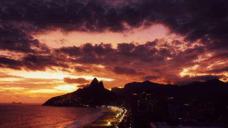 Beautiful magenta sunset in Ipanema and Leblon beaches in Rio de Janeiro, Brazil