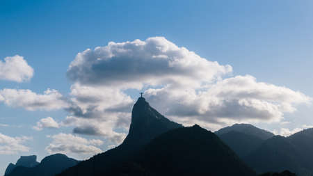 Dramatic view of Christ The Redeemer Statue on Corcovado Hill, Rio de Janeiro, Brazil - UNESCO World Heritage Site