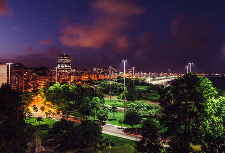 High perspective night view of Aterro do Flamengo, in Rio de Janeiro, Brazil Stock Photo