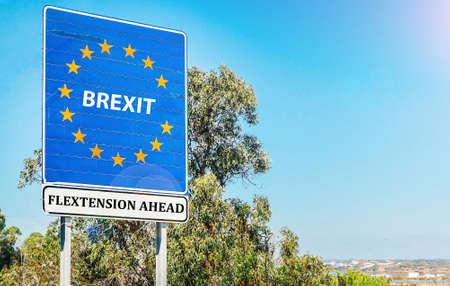 Flextension composite on EU border- Brexit concept