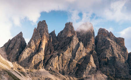 High mountain cliffs in the Dolomites, Italy Stock Photo