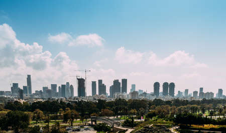 Panoramic view of Downtown Tel-Aviv, Israel skyline