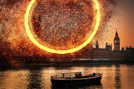 Explosion concept at Houses of Parliament, Westminster, London, UK Stock Photo