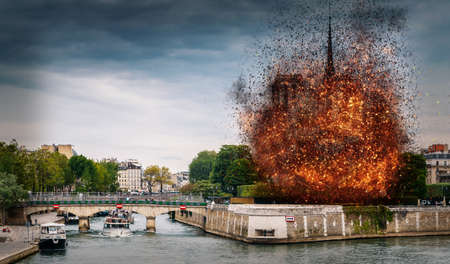 Digital concept of early stages of Notre Dame Cathedral fire, which occured on April 15, 2019 in Paris, France
