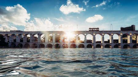 Digital manipulation of 19th-century colonial Lapa Arches, Rio de Janeiro, Brazil Stock Photo