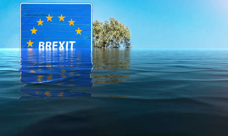 Digital manipulation of flooded Brexit sign - climate change concept Stock Photo