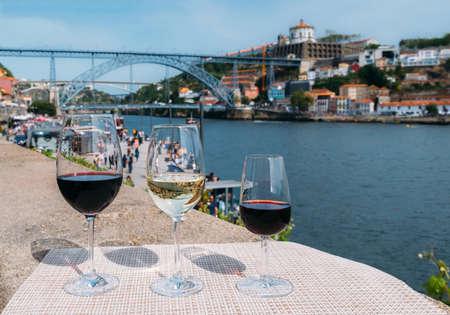 Wine glasses with cityscape of Porto, Portugal