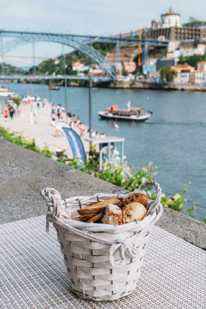 Bread basket overlooking Porto, Portugal landmark, Europe Stock Photo