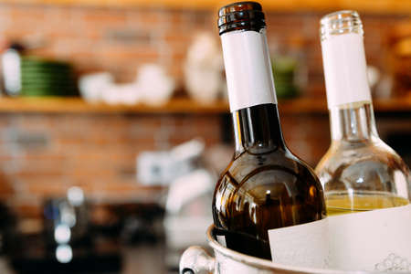 Bottles of Wine in bar with copy space Stock Photo