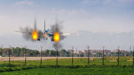 Twin engines on fire emergency landing concept at airport Banco de Imagens
